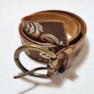 Brown and Gold Bonded / Split Leather Belt L